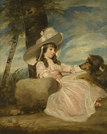 Reynolds | Portrait of Miss Anna Ward with Her Dog, 1787 | Giclée Canvas Print