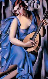 Lempicka | Lady in Blue with Guitar | Giclée Canvas Print