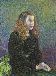 Young Woman in Green Dress (Germaine Marechal), 1893 by Rysselberghe | Giclée Canvas Print