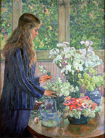 Garden Flowers, undated   Rysselberghe   Painting Reproduction