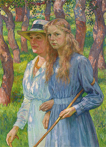 Portrait of Madame Schlumberger and Her Daughter, 1918 | Rysselberghe | Painting Reproduction