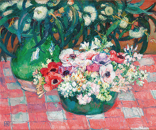 Anemones and Eucalyptus, undated | Rysselberghe | Painting Reproduction
