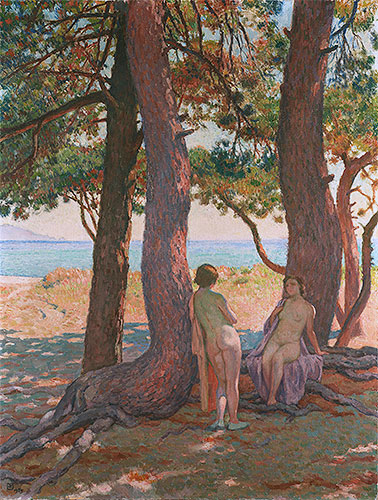 Two Bathers under the Pines by the Sea, 1925 | Rysselberghe | Painting Reproduction