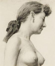 Thomas Eakins | Head and Torso of a Woman with Ribbon in her Hair, undated | Giclée Paper Print