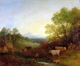 Gainsborough | A Landscape with Cattle and Figures by a Stream and a Distant Bridge, c.1772/74 | Giclée Canvas Print