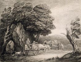 Gainsborough | Wooded Landscape with Carts and Figures, Undated | Giclée Paper Print