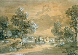 Gainsborough | An Open Landscape with Travellers on a Road, Undated | Giclée Paper Print
