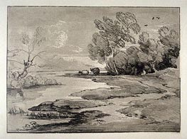 Gainsborough | Wooded River Landscape with Shepherds and Sheep, Undated | Giclée Paper Print