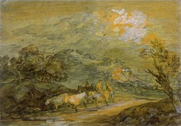 Gainsborough | Upland Landscape with Figures, Riders and Cattle, c.1780/90 | Giclée Paper Print