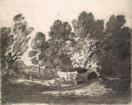 Gainsborough | Wooded Landscape with Herdsmen and Cows, c.1780/88 | Giclée Paper Print