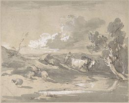 Gainsborough | Open Landscape with Herdsman, Cows, and Sheep, c.1785 | Giclée Paper Print