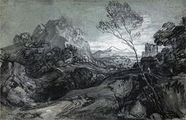Gainsborough | Mountain Landscape with Figures and Buildings, c.1770 | Giclée Paper Print