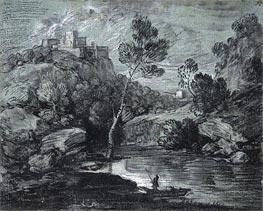 Gainsborough | Mountain Landscape with a Castle and a Boatman, c.1780 | Giclée Paper Print