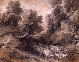 Gainsborough | Wooded Landscape with Cattle and Goats, Undated | Giclée Paper Print