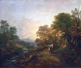 Gainsborough | Landscape with Rustic Lovers, Two Cows, and a Man on a Distant Bridge, c.1755/59 | Giclée Canvas Print