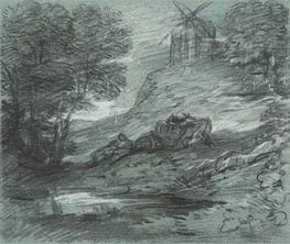 Gainsborough | Wooded Landscape with Rustic Lovers, Packhorses and Windmill, Undated | Giclée Paper Print