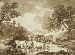 Gainsborough | Wooded Landscape with Cows at a Watering Place, Figures and Cottage, c.1785 | Giclée Paper Print