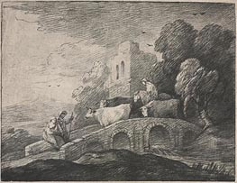 Gainsborough   Wooded Landscape with Herdsmen Driving Cattle, c.1779/80   Giclée Paper Print