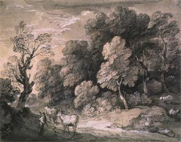 Gainsborough   Wooded Landscape with Herdsman and Cattle, 1775   Giclée Paper Print