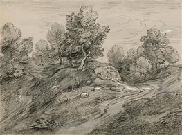 Gainsborough | Wooded Upland Landscape with Shepherd and Sheep and Country Track Winding around a Knoll, c.1785 | Giclée Paper Print