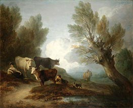 Gainsborough   Landscape With Cattle, a Young Man Courting a Milkmaid, Undated   Giclée Canvas Print