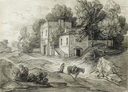 Gainsborough | Wooded Landscape with Mansion, Figure and Packhorse, Undated | Giclée Paper Print