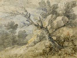Gainsborough   Landscape with Rocks and Tree Stump, Undated   Giclée Paper Print