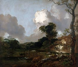 Landscape with Stream and Weir, c.1750/53 by Gainsborough | Giclée Canvas Print