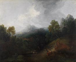 Mountain Valley with Figures and Distant Village, c.1773/77 by Gainsborough | Giclée Canvas Print