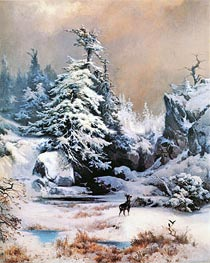 Thomas Moran | Winter in the Rockies, 1867 | Giclée Canvas Print