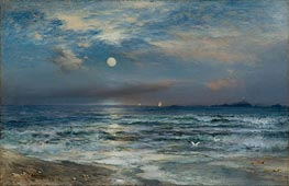 Thomas Moran | Moonlight Seascape | Giclée Paper Print