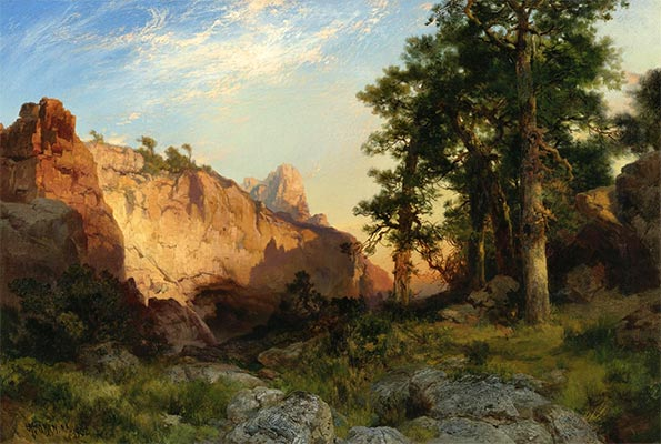 Coconino Pines and Cliff, Arizona, 1902 | Thomas Moran | Painting Reproduction