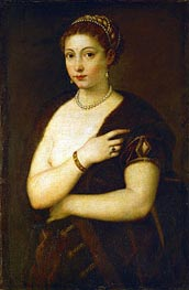 Young Woman with Fur, c.1535 by Titian | Giclée Canvas Print