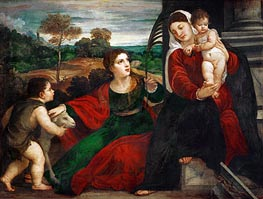 Madonna and Child with Saint Agnes and Saint John Baptist, undated by Titian | Giclée Canvas Print