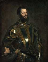 Titian | Portrait of Alfonso d'Avalos, Marchese del Vasto, in Armor with a Page, 1533 | Giclée Canvas Print