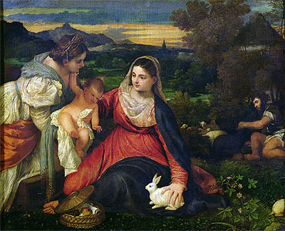Madonna and Child with St. Catherine (The Virgin of the Rabbit), c.1530 | Titian | Painting Reproduction