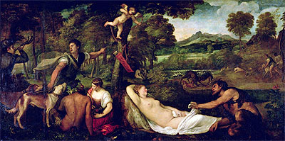 Pardo Venus or Jupiter and Antiope, 1560 | Titian | Painting Reproduction