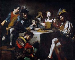 Valentin de Boulogne | Concert around the Bas-Relief, c.1622/25 | Giclée Canvas Print