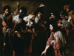 Valentin de Boulogne | Christ and the Adulteress, c.1620/30 | Giclée Canvas Print
