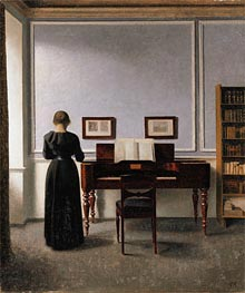 Hammershoi | Interior. Living Room with Piano and Woman Dressed in Black, 1901 | Giclée Canvas Print