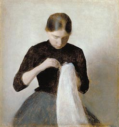 Hammershoi | Young Girl Sewing, 1887 | Giclée Canvas Print