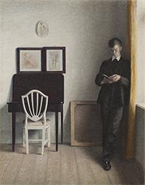 Hammershoi | Interior with a Reading Young Man, 1898 | Giclée Canvas Print