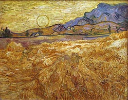 Vincent van Gogh | Wheat Field with Reaper and Sun, 1889 | Giclée Canvas Print