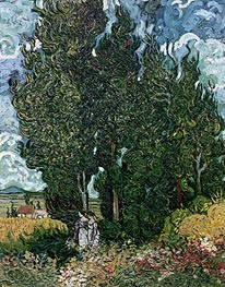 Vincent van Gogh | Cypresses with Two Female Figures, c.1889/90 | Giclée Canvas Print