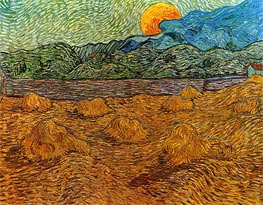 Vincent van Gogh | Landscape with Wheat Sheaves and Rising Moon, 1889 | Giclée Canvas Print
