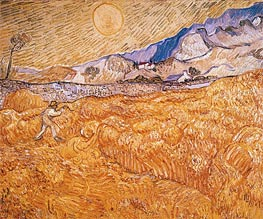 Vincent van Gogh | Wheat Field Behind Saint-Paul Hospital with Reaper, September | Giclée Canvas Print