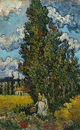 Vincent van Gogh | Cypresses and Two Woman, 1890 | Giclée Canvas Print