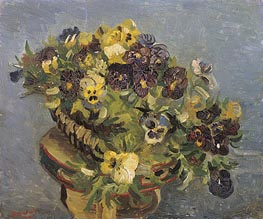 Basket of Pansies on a Small Table, 1887 by Vincent van Gogh | Giclée Canvas Print