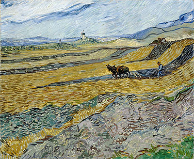 Enclosed Field with Ploughman, 1889 | Vincent van Gogh | Painting Reproduction