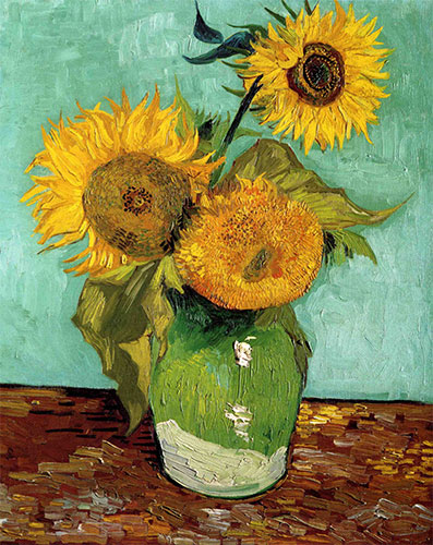 Three Sunflowers in a Vase, 1888   Vincent van Gogh   Painting Reproduction